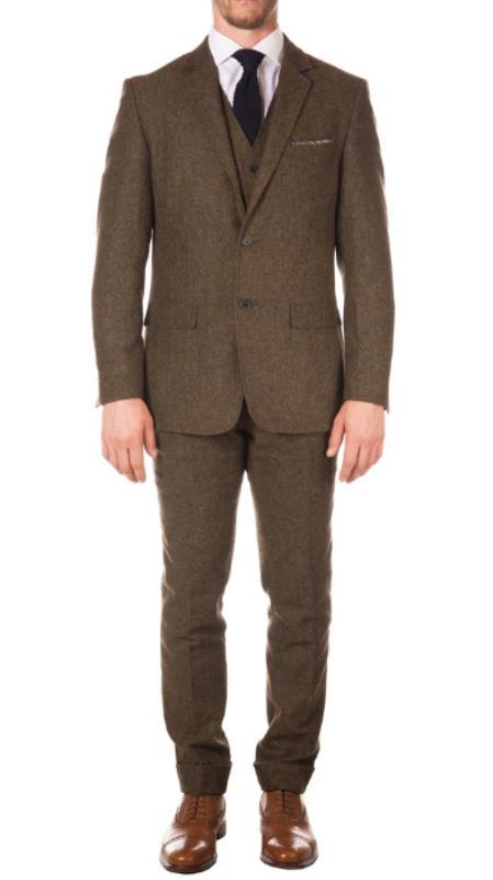 Men's Cognac Peaky Blinders Fashion Clothing Suit