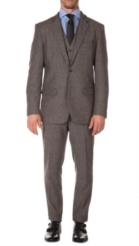 Tweed 3 Piece Suit - Tweed Wedding Suit Mens Grey Peaky Blinders Fashion Clothing Suit