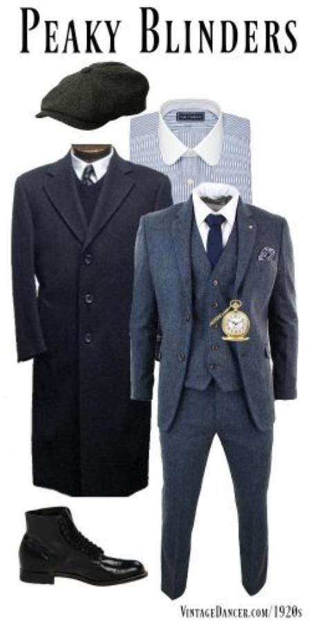 Men's Gray Three Button Two Flap Front Pockets 3 Piece Peaky Blinders Suit - Peaky Blinders Outfit + Overcoat + Shirt and hat + Boot (Like pictured)