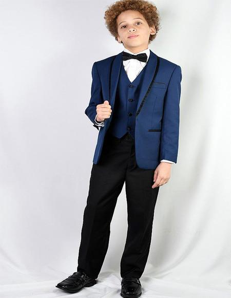 Mens Sapphire Textured Pattern Shawl Lapel Suit and Pants And Vest