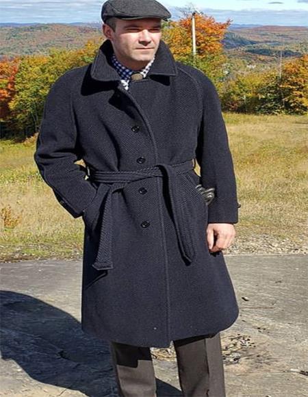 Black Four Button Overcoat for Men