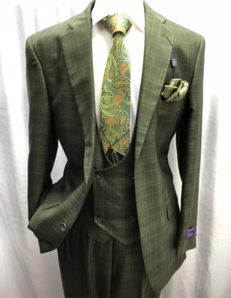 Green Two Button Two Flap Front Pockets Business Suit for Men