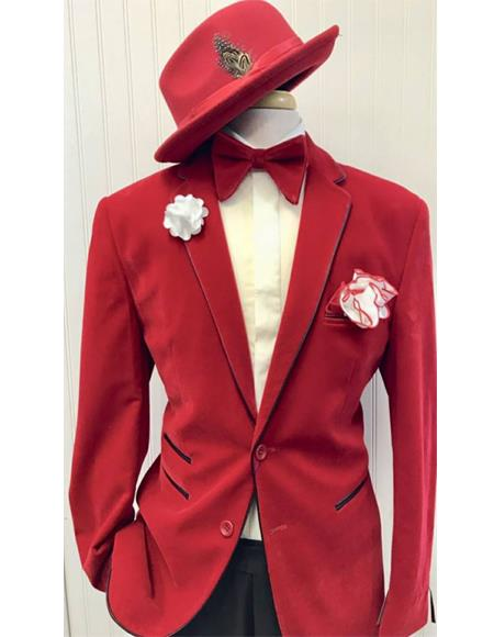 Red Ticket Pocket Two Button Suit for Men