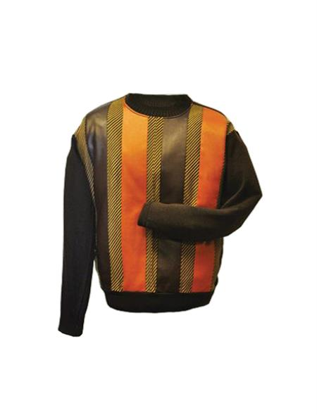 Big And Tall Sweater Men's Brown/Orange Long Sleeve Big and Tall Knit Sweater set