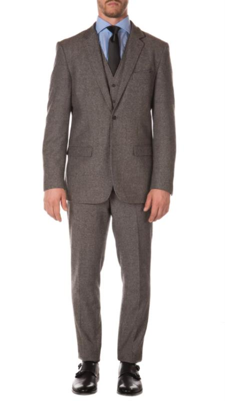 Men's Grey Matching Super Slim Pants with Unhemmed Bottoms Designer Cheap Priced Men's Slim Fitted Suit - Skinny Fit Suit