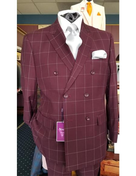 Mens Six Button Double Breasted Peak Lapel Jacket In Burgundy