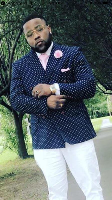 Mens Fashion Navy Blue Polka dot Blazer Sport Coat + Dark Blue and White Pattern Double Breasted Slim fit By KNY polka dot pattern!