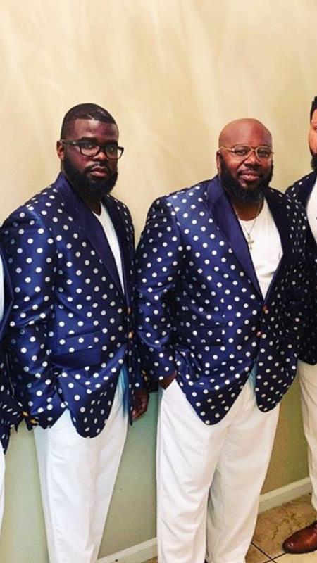 Mens Fashion Navy Blue and White Tuxedo Sport Coat By Alberto Nardoni polka dot pattern!