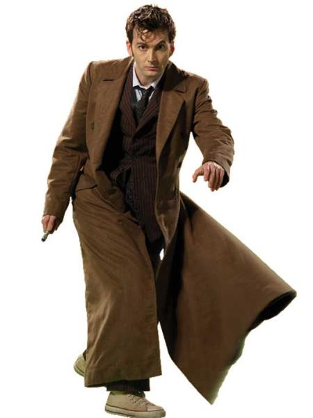 David Tennant Doctor Who Quality Brand New Brown Pinstripe Suit + Overcoat