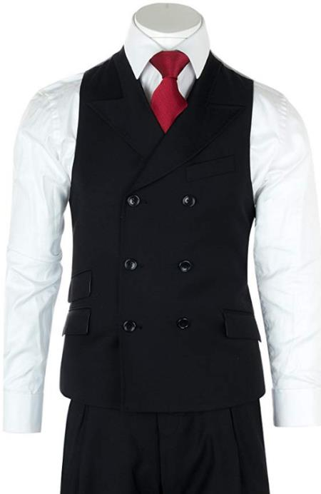 Men's Black One Chest Pocket Casual Wool Fabric Suit