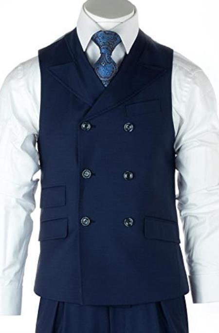 Men's Blue Two Flap Front Pockets Casual Wool Fabric Suit