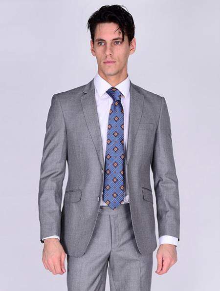 Bertolini Silk & Wool Fabric Men's Suit-Light Gray- High End Suits - High Quality Suits