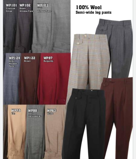 Wide Leg 100% Super 150's Italian Wool Fabric Comes in 30 Colors Men's Wide Leg Trousers