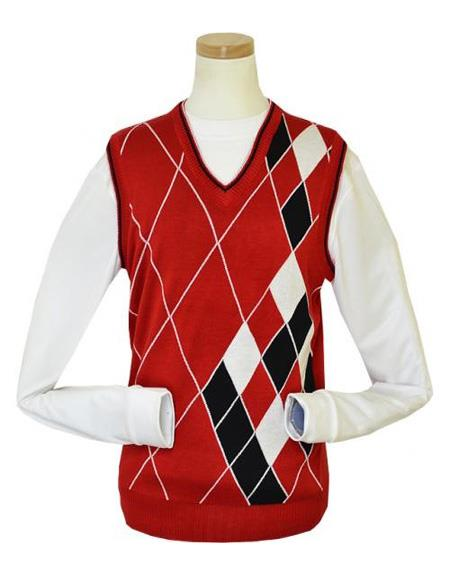 Big And Tall Sweater Pronti Red / White / Black Microfiber V-Neck Sweater set Vest