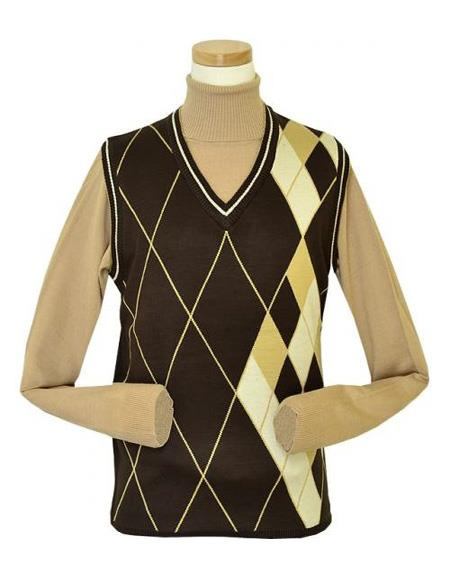 Pronti Microfiber V-Neck Sweater set Vest In Chocolate / Peanut Butter / Vanilla