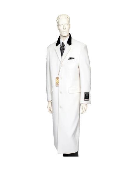 Chesterfield Wool & Cashmere Full Length Overcoat Winter White