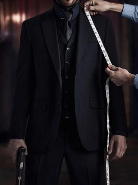 Mens John Wick Vested Black Suit Costume
