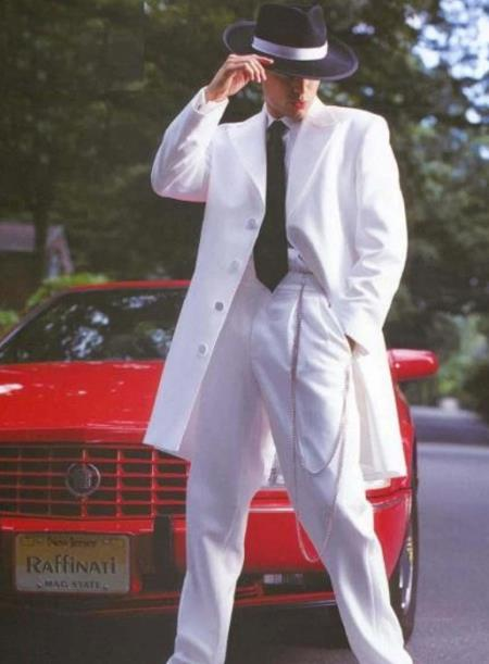 Mens White Gangster Zoot Suit Tuxedo Costume