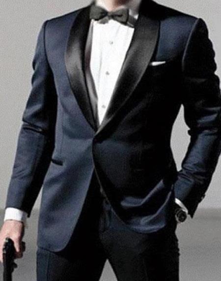 Mens Daniel Craig White Tuxedo Navy Blue Tuxedo Costume