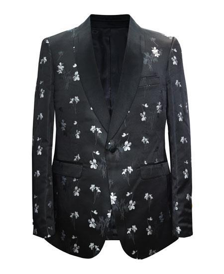 Black and White Floral Tuxedo Blazer and Bowtie