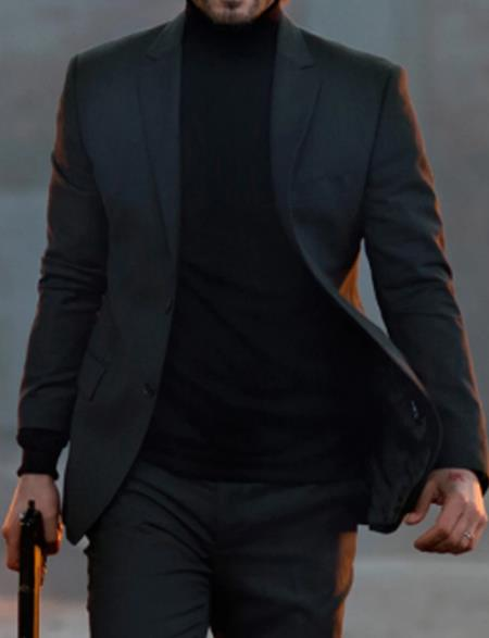 Mens Two Button One Chest Pocket John Wick Charcoal Suit