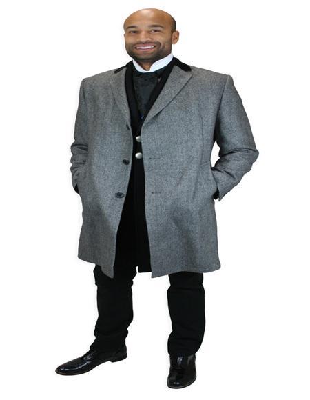 Men's Alberto Nardoni Herringbone Chesterfield Overcoat In Black