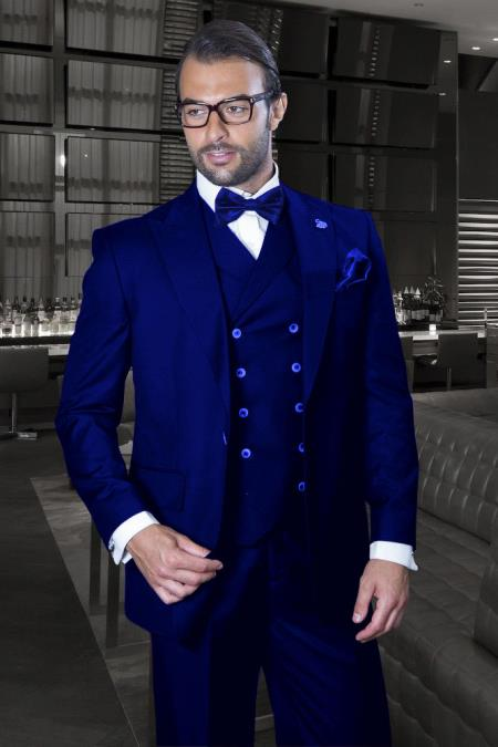 Peak Lapel Double Breasted Vest Classic Fit 3 Piece Wide Leg, Pure Wool Suit & Vest Saphire - Indigo - Cobalt Blue