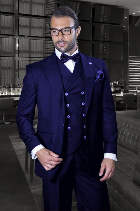 Peak Lapel Double Breasted Vest Classic Fit 3 Piece Wide Leg, Pure Wool Suit & Vest  Saphire - Indigo -   Cobalt Blue