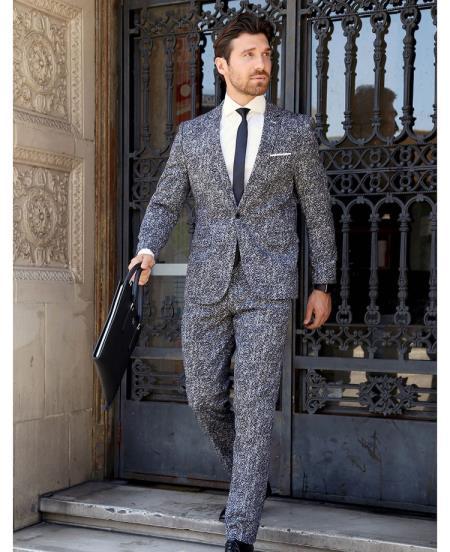 Black ~ White Pinstrip Pattern Suit for Men