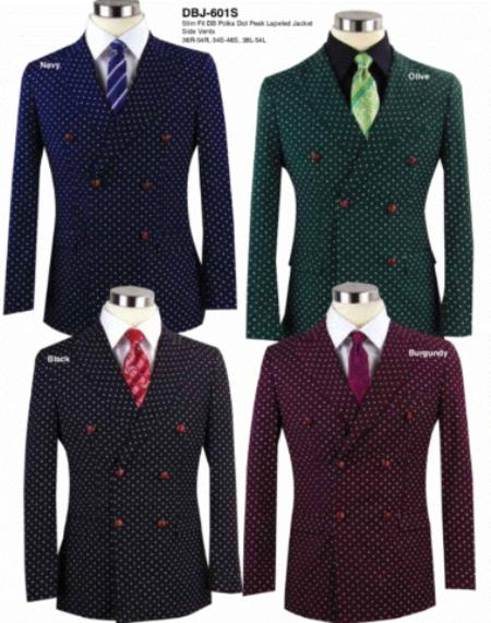 Mens Double Breasted Suits Jacket Slim Fit Blazer Sport Coat Jacket Available in 4 Colors polka dot pattern!