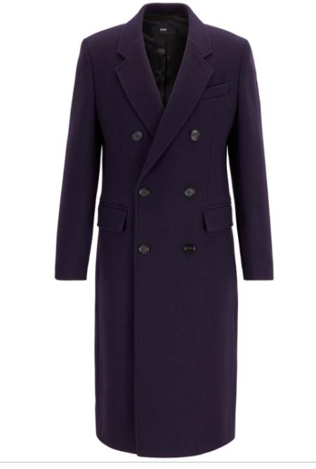 Mens Fashion Show Capsule Coat Alberto Nardoni Mens double breasted wool overcoat ~ Long Mens Dress Topcoat -  Winter coat Dark Purple