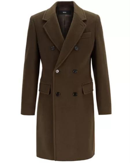 Mens Fashion Show Capsule Coat Alberto Nardoni Mens double breasted wool overcoat ~ Long Mens Dress Topcoat -  Winter coat Green