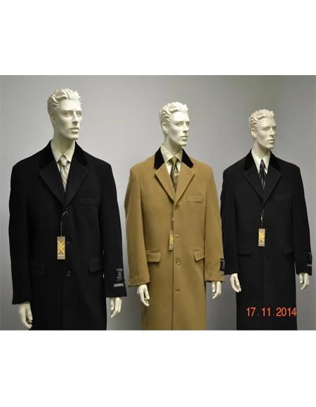 Chesterfield Wool & Cashmere Full Length Velvet Collar Black