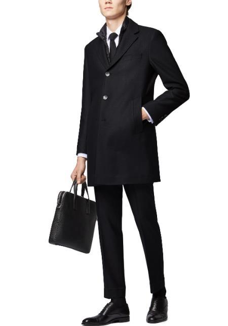 Mens Notch Lapels Standard Length Coat Grey