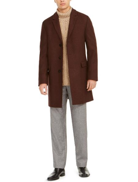 Mens Single Breasted Notched Lapel Twill Overcoat Burgendy