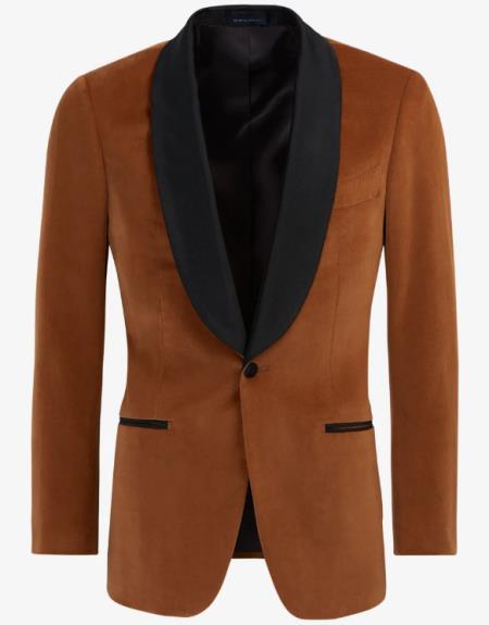 Light Brown ~ Cognac Velvet Tuxedo velour Jacket