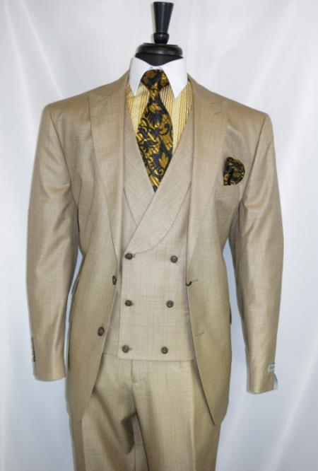 Mens Beige Double Breasted Peak Lapel waistcoat