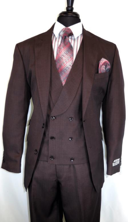 Needle Stitch Double Breasted Peak Lapel Peak Lapel Burgundy Suit With Double breasted Vest ~ waistcoat Flat Front Pants Modern Fit Flat front Pants Burgundy
