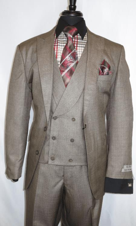 Mens Taupe Two Button Closure Needle Stitch Suits