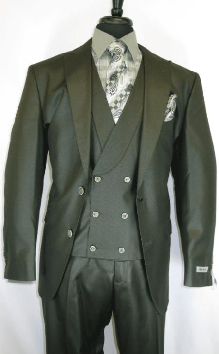 Olive Peak Lapel One Chest Pocket Suits
