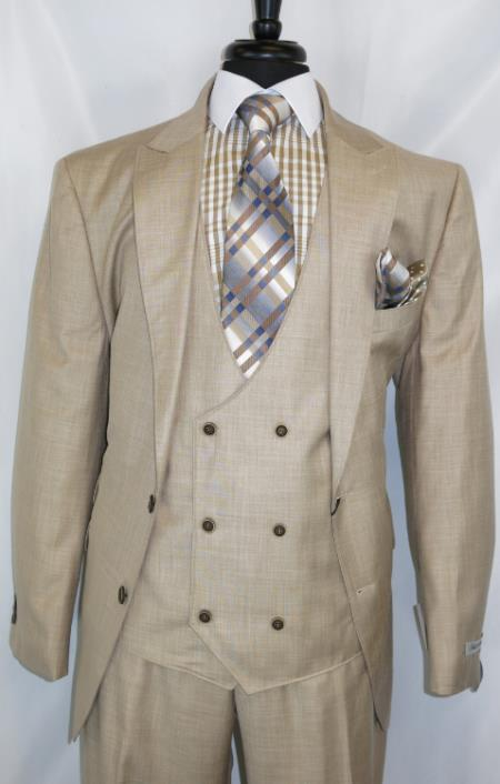 Needle Stitch Double Breasted Peak Lapel Suit Beige
