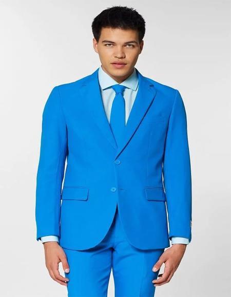 Mens two buttons Notch lapels Blue Slim fit Suit