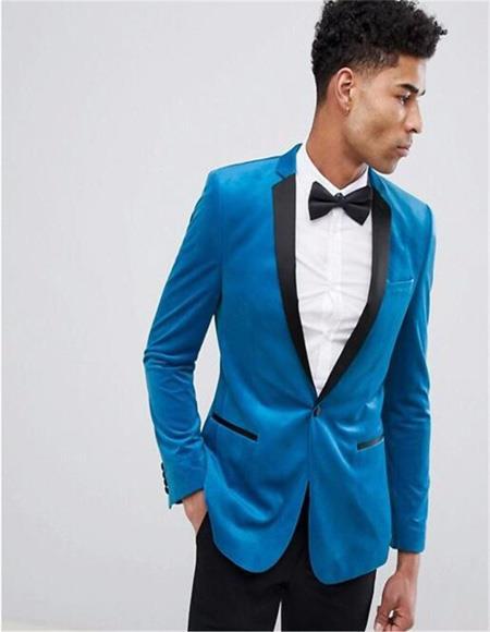 One Button Bright Blue Velvet Blazer Slim Fit Blazer - Sport Coat For  Men's