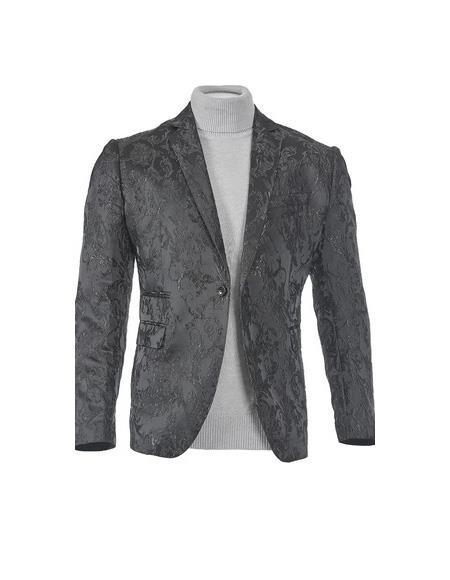 Mens One Button Peak lapel Fully lined Black Slim fit Blazer