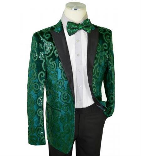 Cielo Emerald Green / Black Sequined Velvet / Satin Modern slim fit cut Jacket