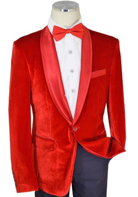 Solid Red One Button Velvet slim fit cut Jacket