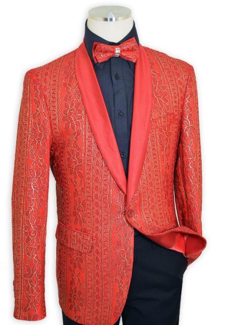 Red Shawl Lapel Satin Classic Slim Fit Cut Jacket