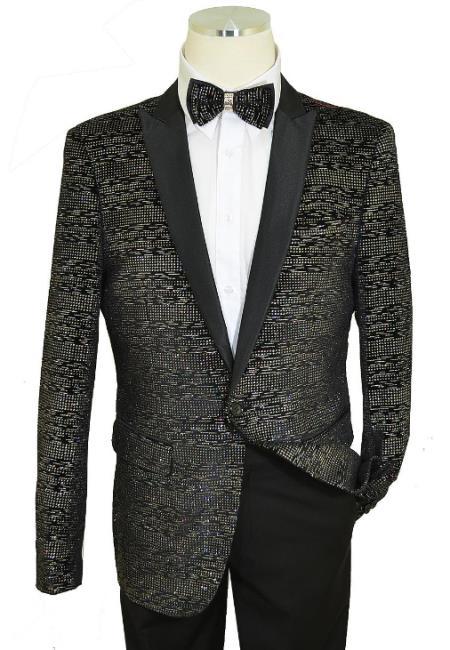 Cielo Black / Metallic Multi-Color Lurex Classic SlimFit Cut Velvet Jacket / Bow Tie