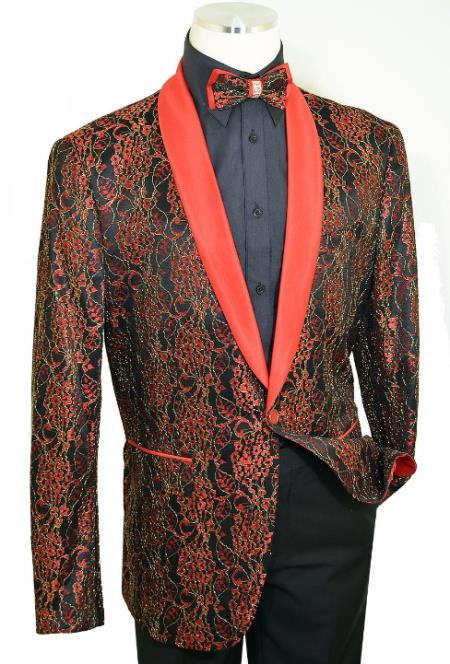 Cielo Red / Black / Metallic Gold Laced Satin Classic Slim Fit Cut Jacket / Bow Tie