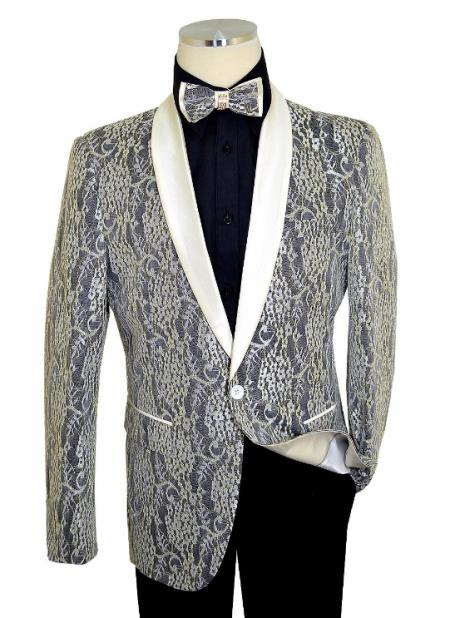 Cielo Off-White / Black / Metallic Gold Laced Satin Classic Slim Fit Cut  Jacket / Bow Tie
